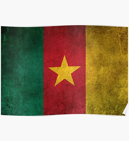 Old and Worn Distressed Vintage Flag of Cameroon Poster