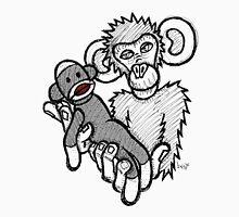 Mokey Holding a Sock Monkey Unisex T-Shirt