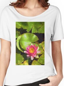 Pretty in Pink - a Waterlily Impression - Vertical Women's Relaxed Fit T-Shirt