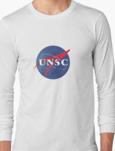 Textured NASA/UNSC Logo Long Sleeve T-Shirt