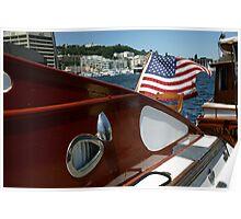 U.S. Flag on Boat Poster
