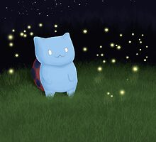 Catbug and fireflies by Asianware