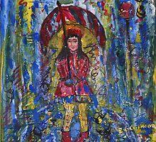 Rosebella Waiting   8 X8 acrylic on canvas by eoconnor