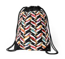 herringbone penguin Drawstring Bag