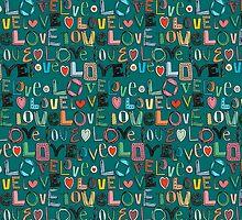 l o v e LOVE teal by Sharon Turner