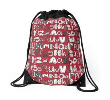 ABC red Drawstring Bag