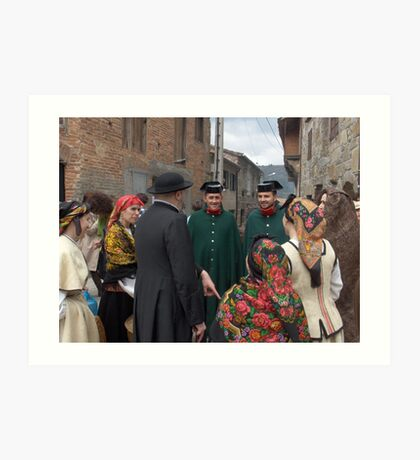 Encounter of typical galicians from the past Art Print