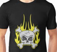 Skull & Crossbones Flaming Dark Unisex T-Shirt