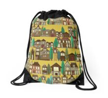 wooden buildings yellow gold Drawstring Bag