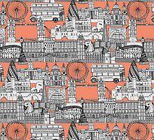 London toile peach by Sharon Turner