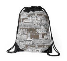 London toile mocha Drawstring Bag