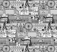London toile black white by Sharon Turner