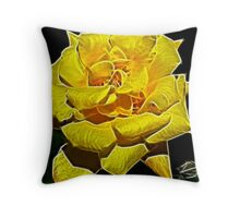 Yellow Rose Glow Throw Pillow
