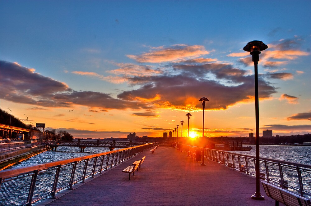West Harlem Piers Sunset-HDR by Dave Bledsoe