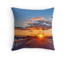 West Harlem Piers Sunset-HDR Throw Pillow
