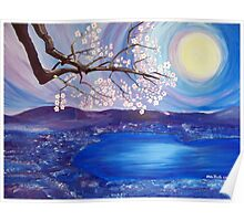 Cherry Blossom over The Lake Poster