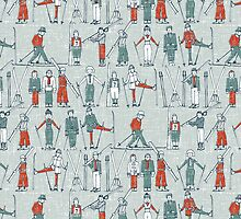 vintage ski linen by Sharon Turner