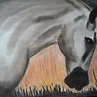 Firelight horse in pastel and charcoal by Laura Sykes