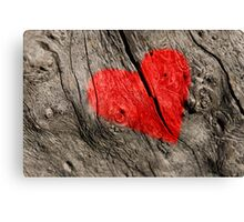 Red heart on the tree bark. Canvas Print