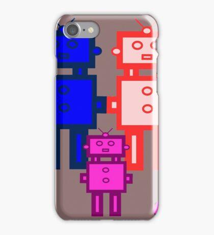 Retro robot family iPhone Case/Skin