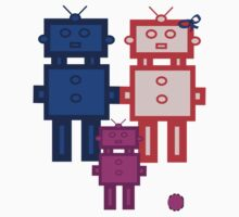 Retro robot family Kids Clothes