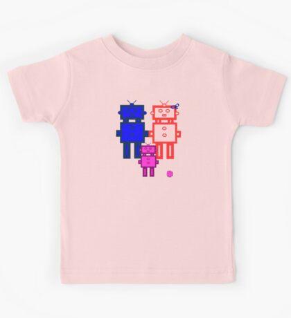 Retro robot family Kids Tee