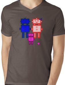 Retro robot family Mens V-Neck T-Shirt