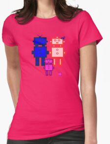 Retro robot family Womens Fitted T-Shirt