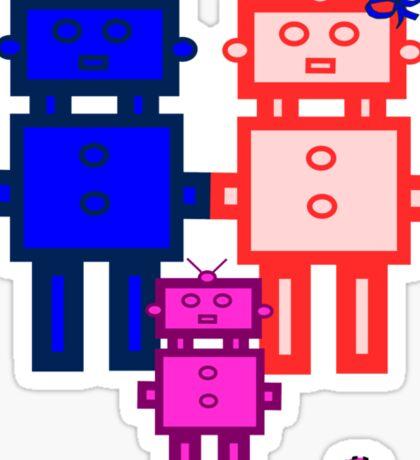 Retro robot family Sticker