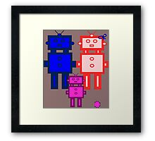 Retro robot family Framed Print