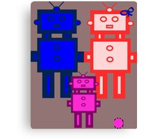 Retro robot family Canvas Print