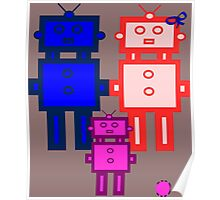 Retro robot family Poster