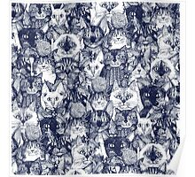 CHRISTMAS CATS blue Poster