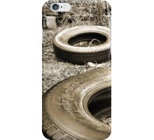 Tires in a Vacant Lot Sepia Gold Tones iPhone Case/Skin