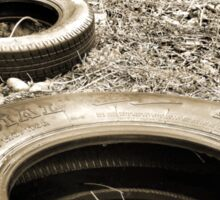 Tires in a Vacant Lot Sepia Gold Tones Sticker
