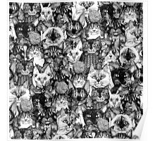 CHRISTMAS CATS black & white Poster