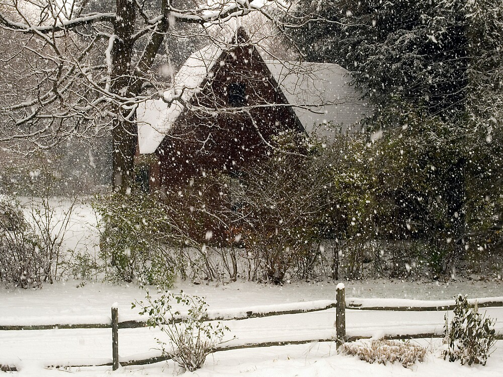 Barn in a snowstorm by pessenfeld