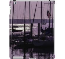 Purple sunrise Connecticut sailboat masts in silhouette iPad Case/Skin