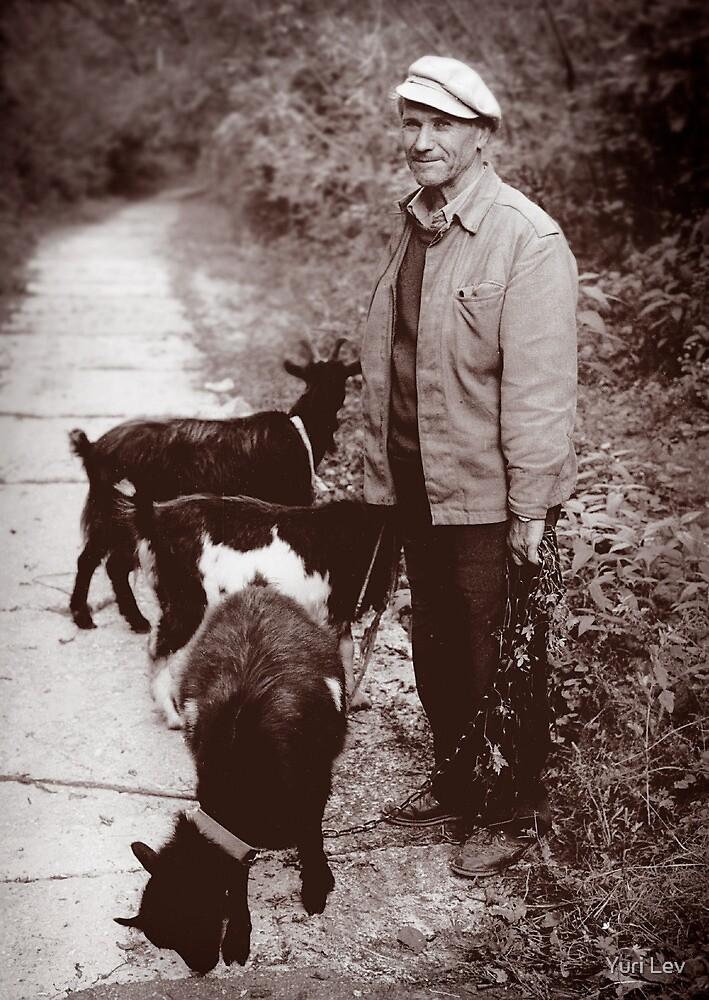 A Man and his Goat, Kyiv, Ukraine by Yuri Lev