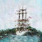 Coast Guard Cutter Eagle vintage grunge style  by Marianne Campolongo