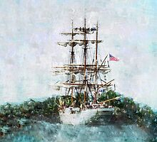 Coast Guard Cutter Eagle vintage grunge style iPad iPhone cover by Marianne Campolongo