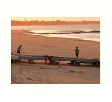 boys on boat ramp Art Print
