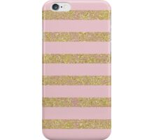 Chic Girly Pink and Gold Glitter Stripes iPhone Case/Skin