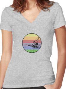 Windsurfing Women's Fitted V-Neck T-Shirt