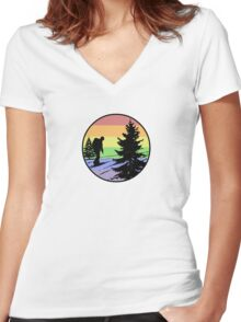 Hiking Women's Fitted V-Neck T-Shirt