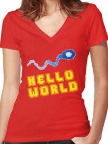 8Bit Nerd Hello Pixel World Women's Fitted V-Neck T-Shirt
