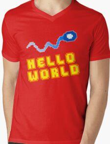 8Bit Nerd Hello Pixel World Mens V-Neck T-Shirt