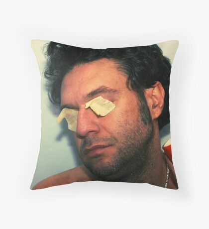 odd person with orange lemon squeezer Throw Pillow