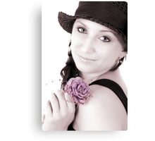 Romantic Girl With Flower Canvas Print