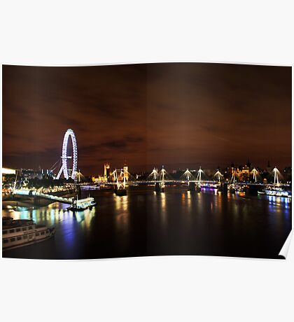 London Eye Night Landscape Poster